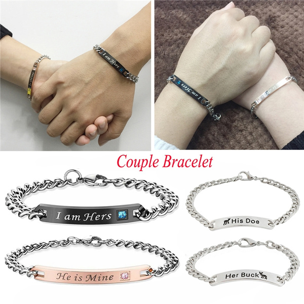 Christmas Gift Couples Gift Loves Bracelet Engraved With Her Buck His Doe Charm Bracelet Fashion Simple Silver Plated Couple Bangle For Couple Bf Gf Wish