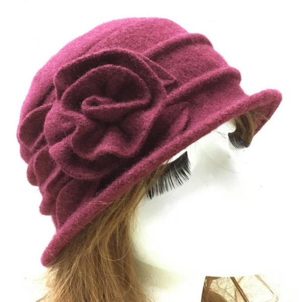 Warm Hat, Flowers, bowler hat, ladiesclochehat