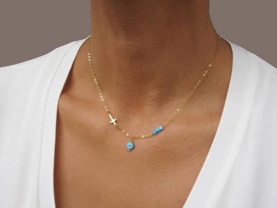 goldevileyenecklace, eye, Jewelry, goldcrossnecklacewoman
