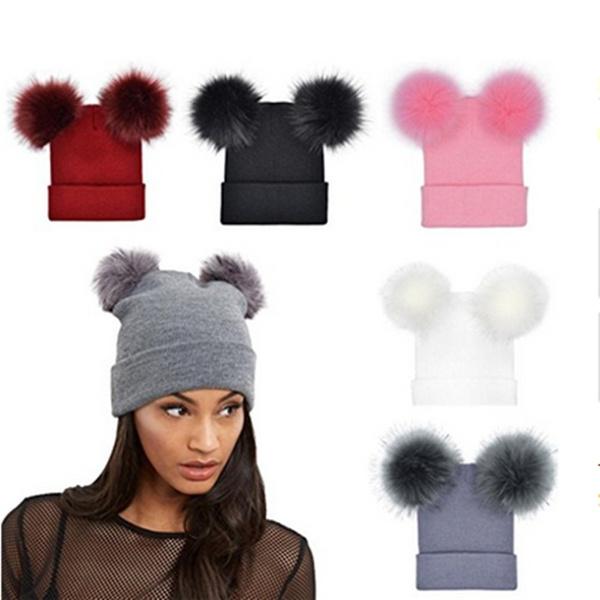 Warm Hat, Beanie, knittedcap, fur