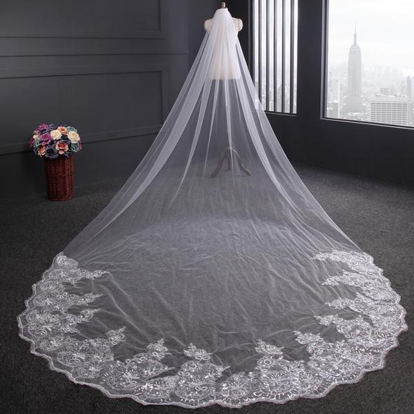 Head, weddingveil, longbridalveil, Lace