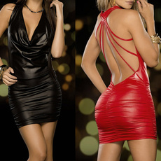 Fashion, leather, Dress, backless dress