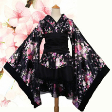 cherryprintdres, Flowers, kimonocostume, Lace