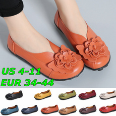 non-slip, loafersforwomen, Flowers, leather shoes