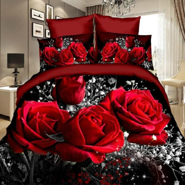 Duvet Cover Set 3d Oil Painting Bed In A Bag 3pcs Bedding Sets Queen Size Red Rose Comforter Bag Duvet Cover Wish