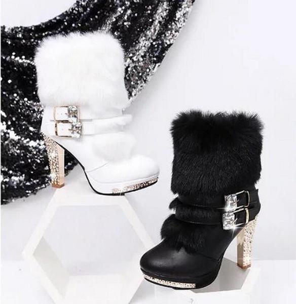 Womens Winter Fur Boots Warm Platform