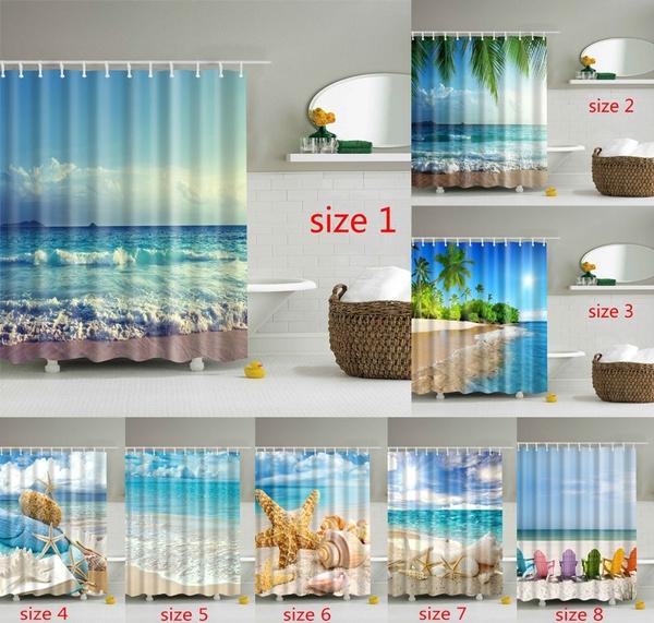 Sunny Island Beach Scene Panoramic, Palm Tree Shower Curtains Bath Accessory Sets