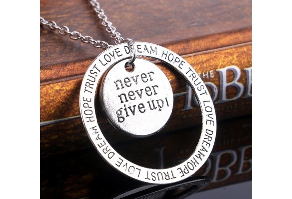 Jewelry, nevergiveup, silvercharm, recoverynecklace