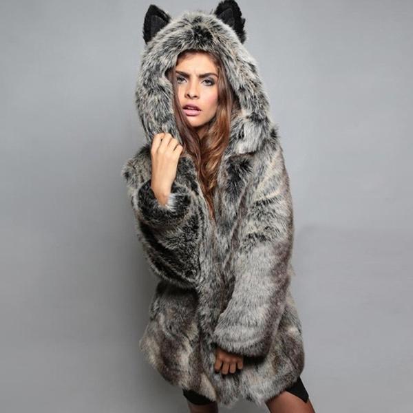 Fashion, imitationfoxfur, womensfauxfurcoat, hair