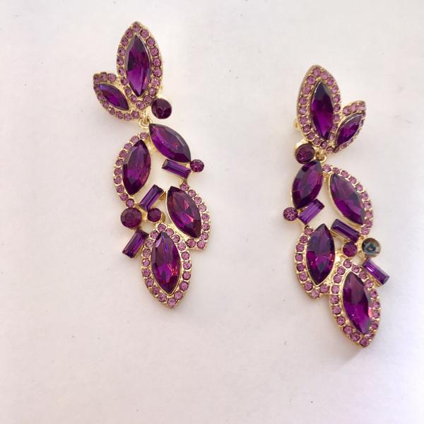 Earring, Jewelry, amethyst, cliponamethystdreamearring