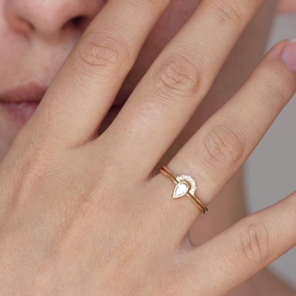 DIAMOND, zirconring, gold, Simple