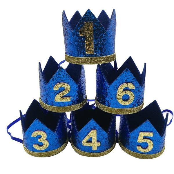 1stbirthdayhat, Boy, Head Bands, bluecrown