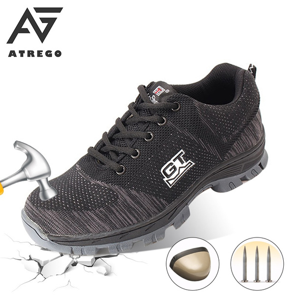 AtreGo Mens Safety Shoes Steel Toe Work