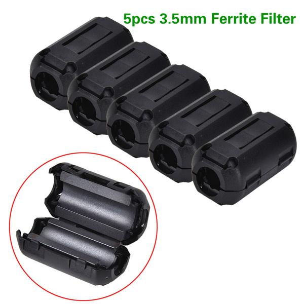 5pcs Black Ferrite Core Cable Filter Nickel-zinc Noise Suppressor for EMI RFI Clip Choke Ferrite Filters 3.5mm