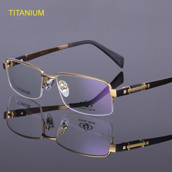 titaniumeyeglassframe, spectaclesframe, halfrimlesseyeglassframe, titanium