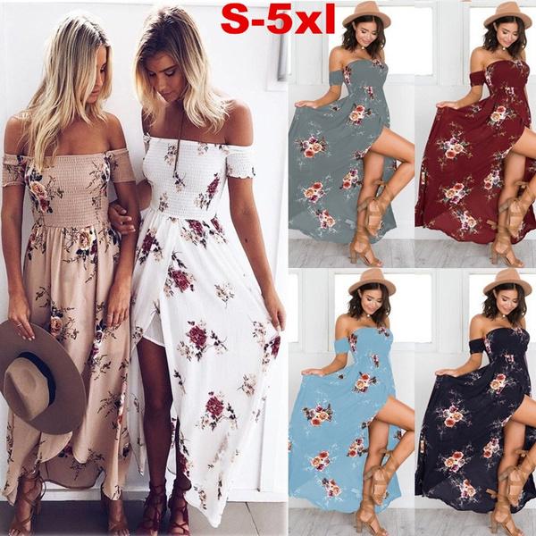 Summer, Floral print, long dress, Beach
