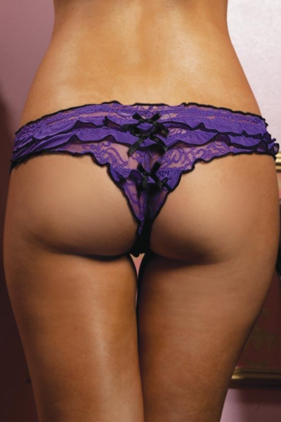 Violet, ruffle, Lace, Thong