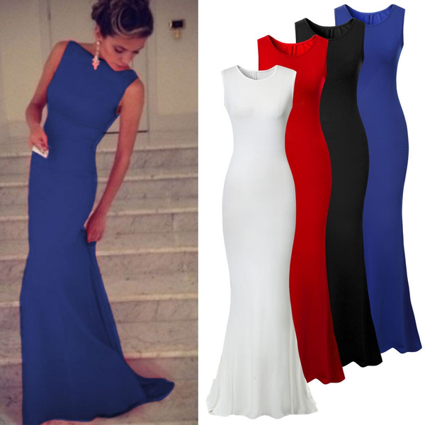 Sleeveless dress, sleeveless, solidcolordre, gowns