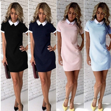 Mini, short sleeve dress, solidcolordre, short dress