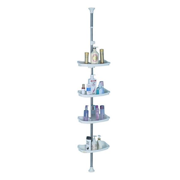 Baoyouni Bathroom Tension Pole Corner Shower Caddy Telescopic Shower Storage Rack Organizer 4 Tier Adjustable Rectangle Shelves Ivory Wish