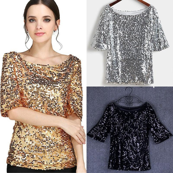 New Sequin Womens Lady Sparkle Glitter Tank 3//4 Sleeve Coctail Party Top T-Shirt