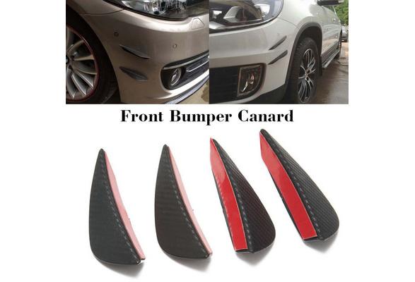 ZUDKSUY 4 Pcs Car Bumper Canards Fin Splitters Diffuser Valence Spoiler Lip Glossy Carbon Fiber