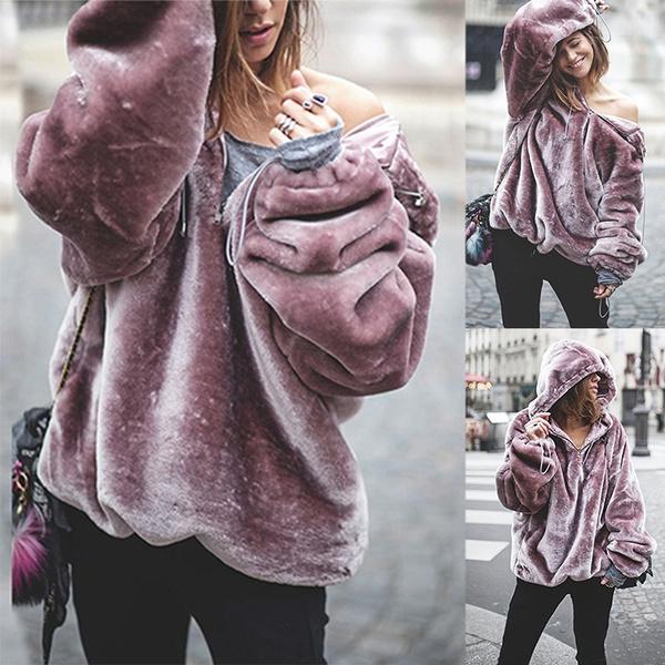 Women's Fashion Autumn Winter Purple Velvet Keep Warm Fleece Outerwear Fashion  Hoodies Oversized Sweatshirts New Fur Coat Women Loose Hoodies Jacket Solid  Color Long Sleeves Plus Size Sweater Cute Cotton Womens  Pullovers(size:S-XXL)
