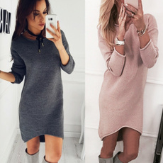 women pullover, Mini, Fashion, sweater dress