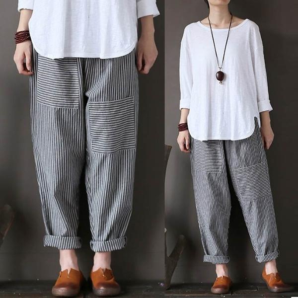 trousers, Elastic, pants, stripedpant