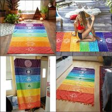 Yoga Mat, blanketstapestry, Yoga, rainbowtotem