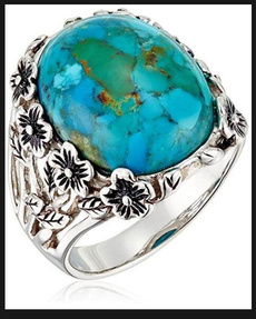 Antique, Sterling, Turquoise, Flowers