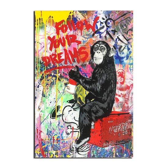 W15Y8 Banksy Art Follow Your Dreams Monkey 60 x 90 cm sin marco P/óster de lienzo de graffiti para pared dise/ño de animales para decoraci/ón del hogar