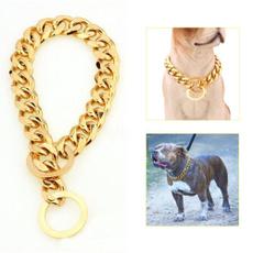 Steel, cuban, Chain, gold