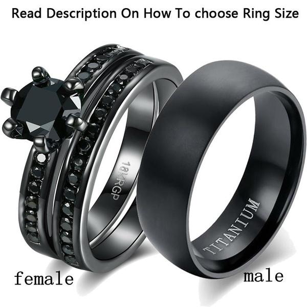 Couple Rings, Steel, black, titanium