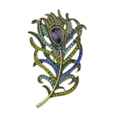 peacock, colorfulbrooch, crystalbrooche, Vintage