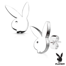 Steel, prongsetearring, playboy, stainless steel earrings