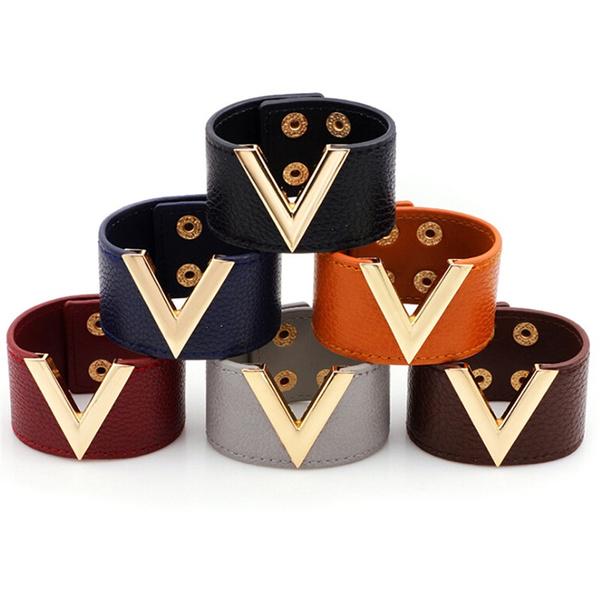 Wide V Leather Bracelet Bangle Punk Cuff Bracelet Wrap Wristband Jewelry YN UV