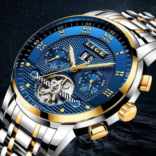 Steel, automaticmechanicalwatch, Fashion, Waterproof