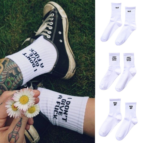 wintersock, Cotton Socks, letter print, whitesock