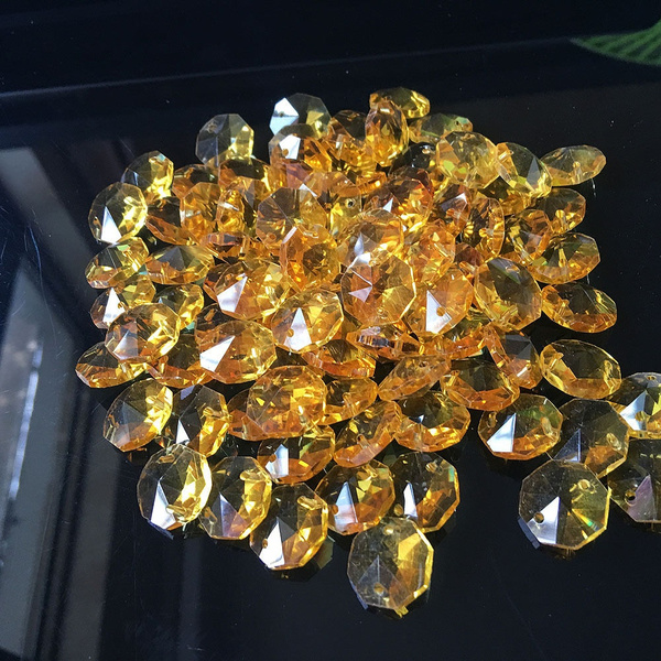 10pcs Yellow 14mm Octagon Glass Beads, Chandelier Parts Glass