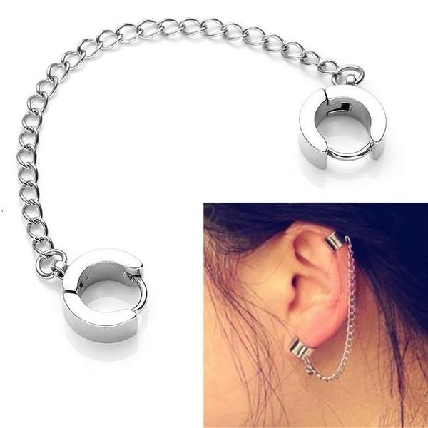 Earring Cuff, Chain, cartilage earrings, cliponearring