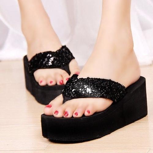 Sequins Women Shoes Beach Slippers Flip Flops Sandalias Plataforma Wedges Sandals Wish