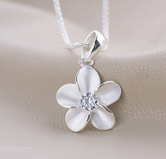 925 sterling silver necklace, clavicle  chain, plumblossompendant, sterling silver