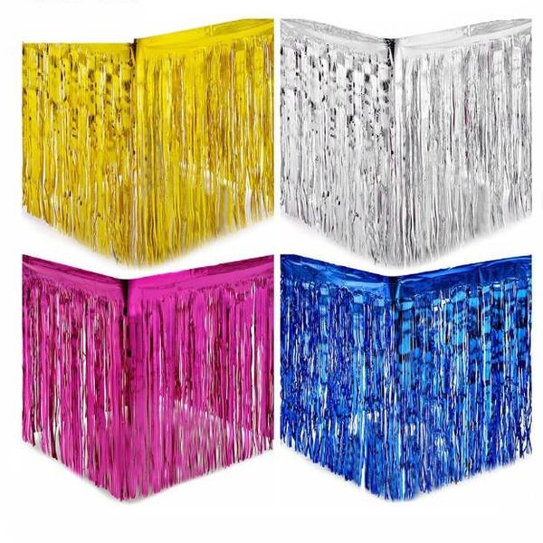 Metallic Foil Fringe Curtain Tinsel Tassel Wedding Xmas Party Backdrop Decor