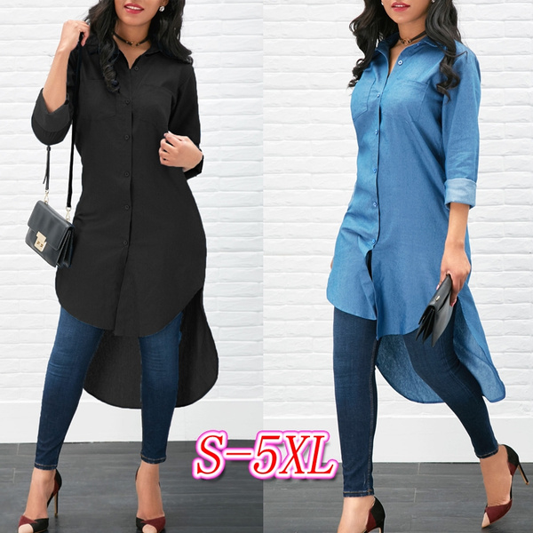 denim dress, solidcolour, long sleeved shirt, asymmetric