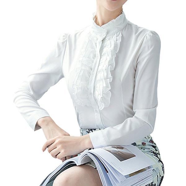 Career Lotus Ruffle Bodysuit Shirts Blouse White-UK S to 2XL