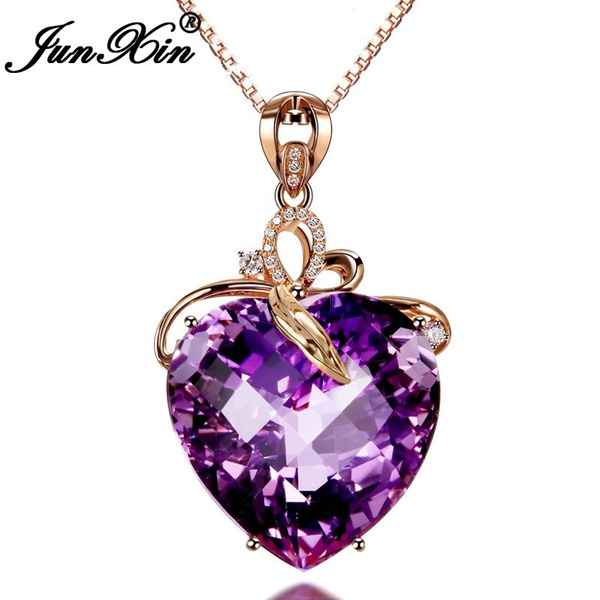18 k, Heart, Chain Necklace, amethystheartpendant