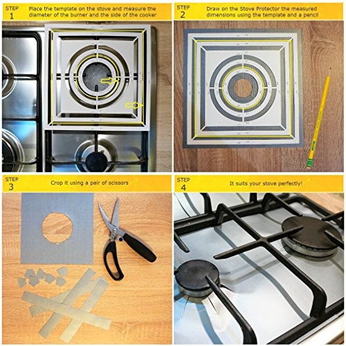 FireFly Home Stove Top Protector for Whirlpool Gas CookTop Custom Fit Ultra Thin Reusable Burner Splatter Spill Guard Protective Cover Liner WCG55US0HB