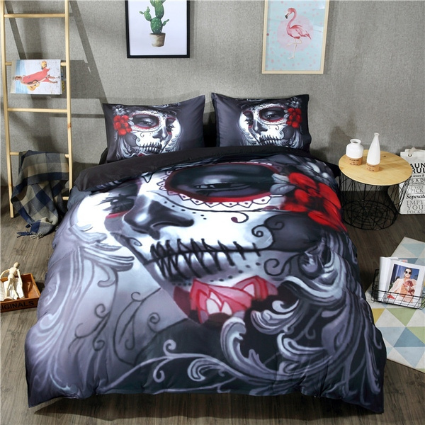 comforterbeddingset, Flowers, Cotton, skull