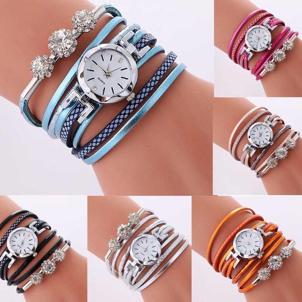 quartz, leather, wristwatch, DIAMOND